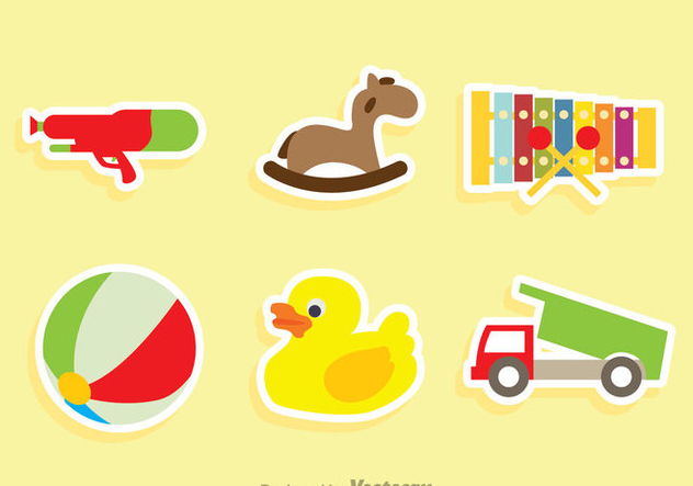 Children Toys Sticker Vectors - vector gratuit #347117