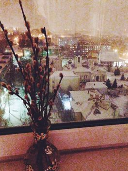 Willow branches in vase on windowsill - бесплатный image #347187
