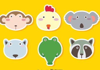 Cute Animals Face Vector Sets - vector #347337 gratis