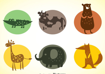 Animals Colors Icons Vector Set - бесплатный vector #347347