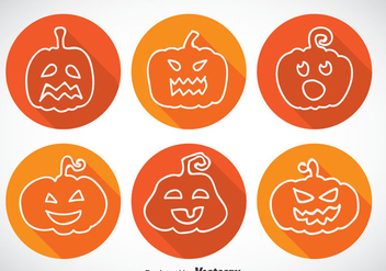 Pumpkin Long Shadow Icons - Free vector #347397