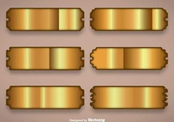 Shiny Gold Name Plate Vectors - vector gratuit #347527
