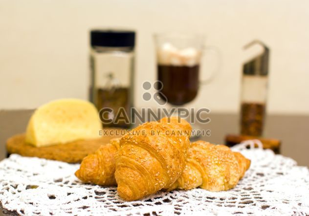 Croissants, cheese and coffee for breakfast - Free image #347937