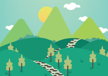 Free Stone Path Mountains Illustration Vector - Kostenloses vector #348057