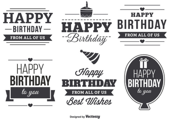 Happy Birthday Typographic Label Set - vector #348217 gratis