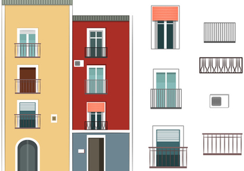 Colorful Building Vectors - vector gratuit #349017