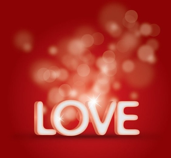 3D Love Text Bokeh Background - vector gratuit #349217