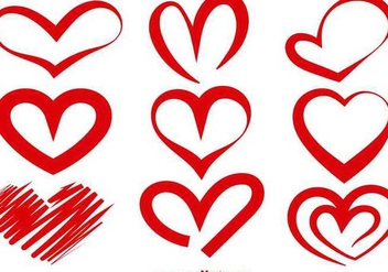 Red vector heart silhouettes - vector gratuit #349277