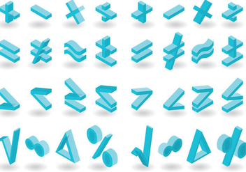 Isometric Math Symbols Vector Pack - Kostenloses vector #349327