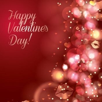 Sparkles Red Valentine Card - vector gratuit #349387