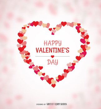 Happy Valentine's heart made of hearts - vector gratuit #349397