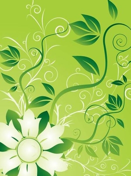 Fresh Green Flower Swirls Background - vector gratuit #349457