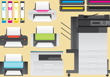 Ink And Laser Printers Vector - vector gratuit #349687