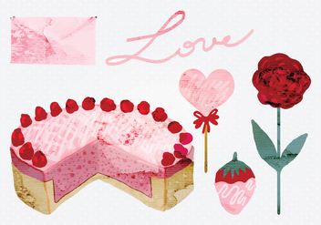 Vector Watercolor Valentine's Day Elements - Free vector #349947