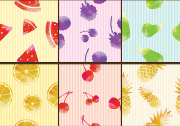 Watercolor Fruit Patterns - Free vector #350117