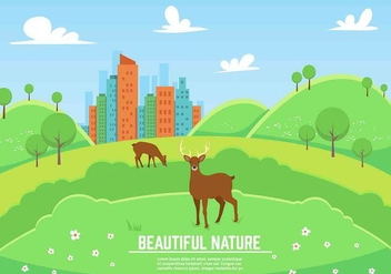 Free Vector Landscape With Deers - бесплатный vector #350417