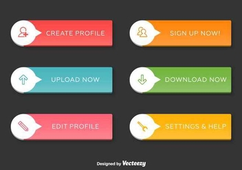 Navigation Web Interface Buttons - vector gratuit #350447