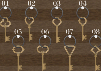 Wooden Antique Key Holder Vector - vector gratuit #350487