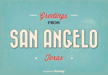 San Angelo Texas Retro Greeting Vector Illustration - бесплатный vector #350747