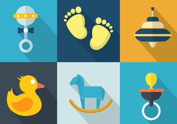 Vector Set of Baby Toys - Free vector #350897