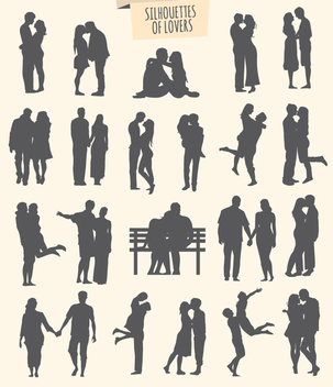 kit of 21 silhouettes of lovers - vector gratuit #350977