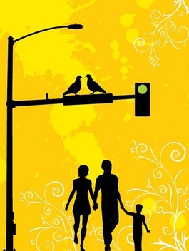 Family in the City Street - vector gratuit #350987