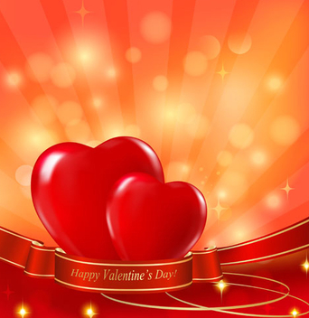 Hearts Ribbon Valentine Card - vector gratuit #351087