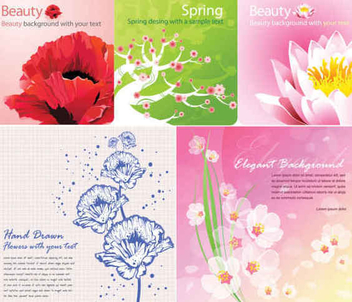 Colorful Flower Card Pack - vector #351117 gratis