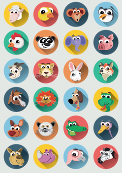 Funny Animal cartoons faces icon set - Free vector #351177
