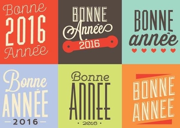 Bonne Annee Typographic Label Set - vector #351327 gratis