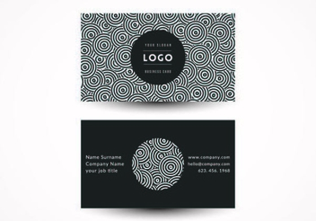 Black White Circles Business Card - vector gratuit #351467