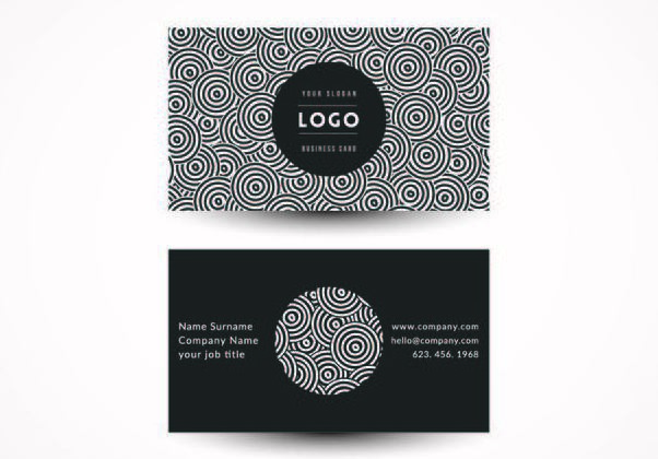 Black White Circles Business Card - Kostenloses vector #351467