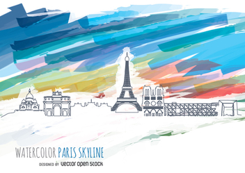 Paris Skyline with watercolor background - vector gratuit #351597