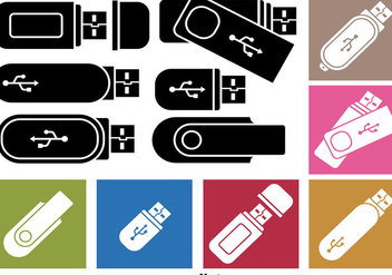Pen Drive Icon Vectors - бесплатный vector #351877