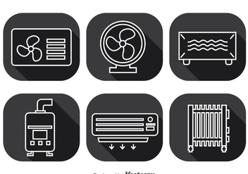 Hvac System Long Shadow Icons Vector - vector gratuit #351957
