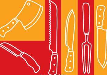 Knife Set White Line Vector - Free vector #352017