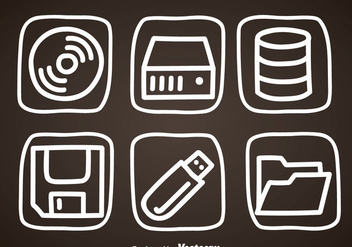 Digital Storage Hand Draw Icons - Free vector #352097