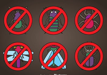 Pest Cartoon Icons Vector - бесплатный vector #352157