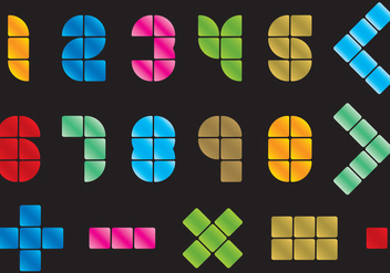 Mosaic Numbers And Symbols - Free vector #352237