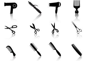 Hair Styling Vector Silhouetes - Free vector #352257