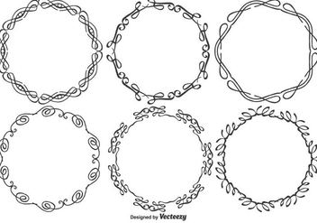 Round Decorative Drawn Style Vector Frames - Free vector #352287