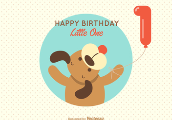 Free Puppy 1st Birthday Greeting Vector Card - Kostenloses vector #352357