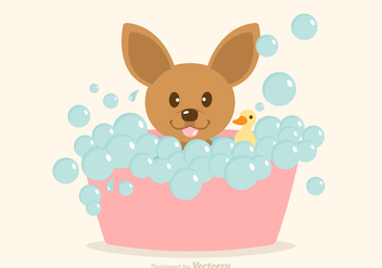 Free Vector Dog Having A Bath - Free vector #352377