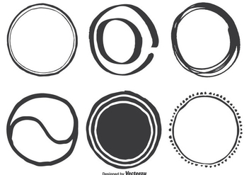 Hand Drawn Assorted Circle Vector Shapes - Kostenloses vector #352407