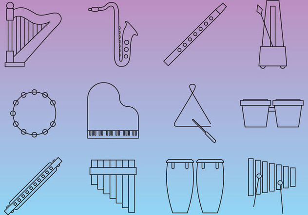 Thin Line Music Instruments - Kostenloses vector #352717