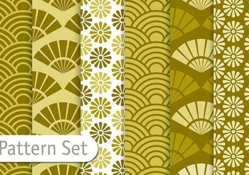 Olive Green Orient Pattern Set - vector gratuit #353107