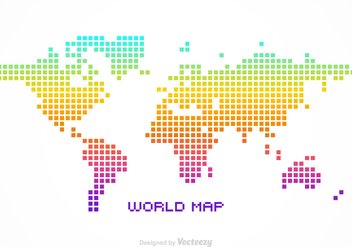 Free Vector Pixel World Map - vector gratuit #353307