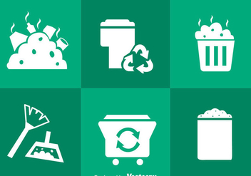 Garbage White Icons - vector gratuit #353437