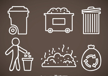 Garbage White Line Icons - vector gratuit #353497
