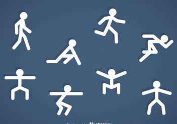 People Stickman Exercise Icons - vector gratuit #353507